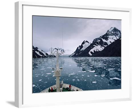 Bow of a Cruise Ship, Channel of the Southern Ocean with Antarctic Mountains-Charles Sleicher-Framed Art Print