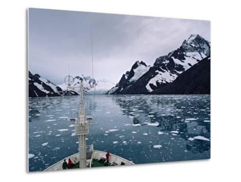 Bow of a Cruise Ship, Channel of the Southern Ocean with Antarctic Mountains-Charles Sleicher-Metal Print