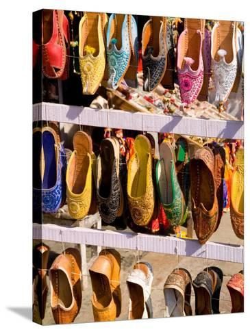 Shoes for Sale in Downtown Center of the Pink City, Jaipur, Rajasthan, India-Bill Bachmann-Stretched Canvas Print