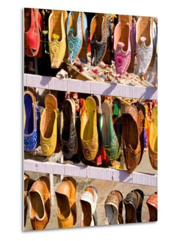 Shoes for Sale in Downtown Center of the Pink City, Jaipur, Rajasthan, India-Bill Bachmann-Metal Print