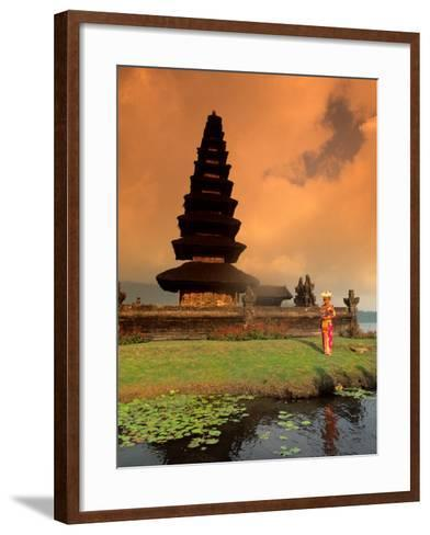 Bride in Traditional Dress in Ulur Danu Temple, Lake Bratan, Bali, Indonesia-Bill Bachmann-Framed Art Print