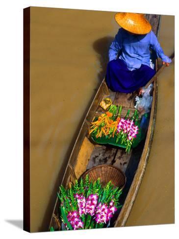 Floating Market, Damnern Saduak, Bangkok, Thailand-Bill Bachmann-Stretched Canvas Print