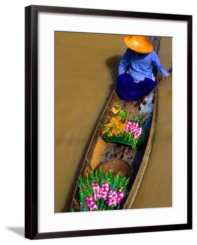 Floating Market, Damnern Saduak, Bangkok, Thailand-Bill Bachmann-Framed Art Print
