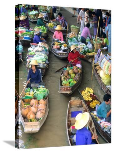 Shopping Boats at the Floating Market, Damnern Saduak, Bangkok, Thailand-Bill Bachmann-Stretched Canvas Print