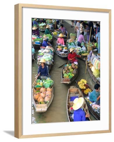 Shopping Boats at the Floating Market, Damnern Saduak, Bangkok, Thailand-Bill Bachmann-Framed Art Print