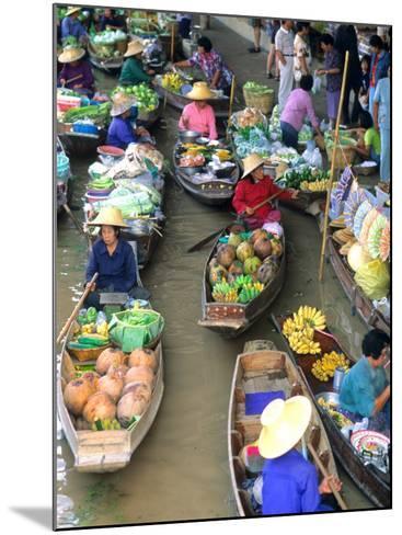 Shopping Boats at the Floating Market, Damnern Saduak, Bangkok, Thailand-Bill Bachmann-Mounted Photographic Print
