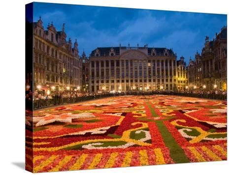 Night View of the Grand Place with Flower Carpet and Ornate Buildings, Brussels, Belgium-Bill Bachmann-Stretched Canvas Print