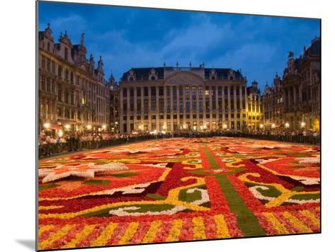 Night View of the Grand Place with Flower Carpet and Ornate Buildings, Brussels, Belgium-Bill Bachmann-Mounted Photographic Print