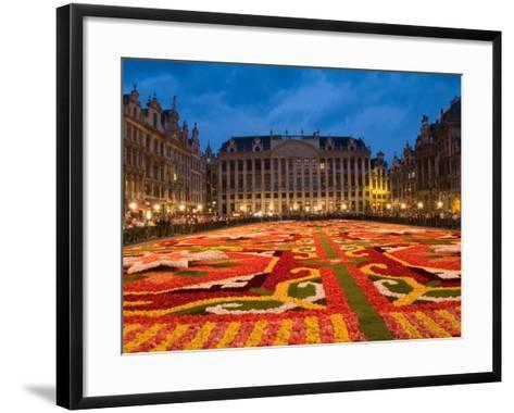 Night View of the Grand Place with Flower Carpet and Ornate Buildings, Brussels, Belgium-Bill Bachmann-Framed Art Print