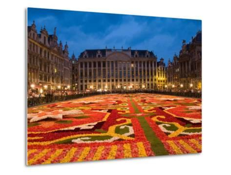 Night View of the Grand Place with Flower Carpet and Ornate Buildings, Brussels, Belgium-Bill Bachmann-Metal Print