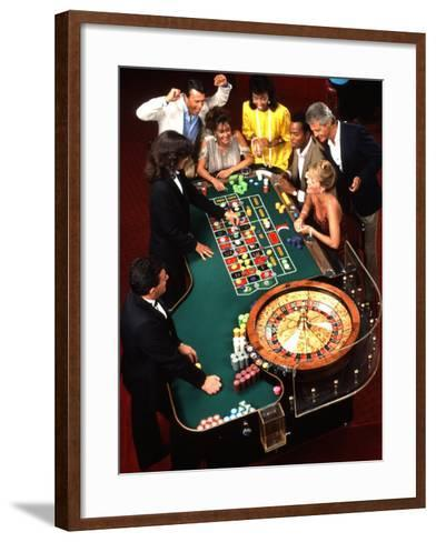 Mixed Ethnic Couples Enjoying Themselves in a Casino-Bill Bachmann-Framed Art Print