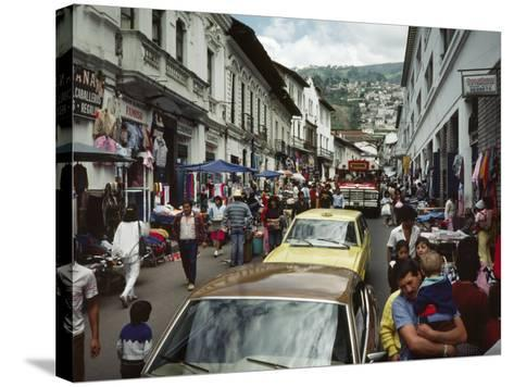Street Scene in Quito, Ecuador-Charles Sleicher-Stretched Canvas Print