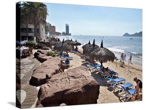 View of Playa Gaviotas at the El Cid Resort, Mazatlan, Mexico-Charles Sleicher-Stretched Canvas Print