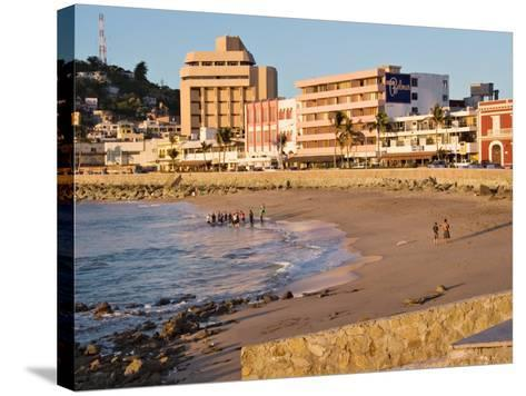 Beach at Olas Altas in Late Afternoon, Mazatlan, Mexico-Charles Sleicher-Stretched Canvas Print