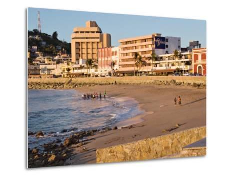 Beach at Olas Altas in Late Afternoon, Mazatlan, Mexico-Charles Sleicher-Metal Print