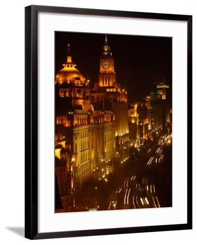 Oriental Pearl TV Tower in Pudong Park, The Bund, Shanghai, China-Pete Oxford-Framed Art Print