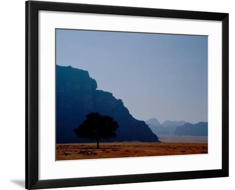 Lone Tree in Desolate Red Desert of Wadi Rum, Jordan-Cindy Miller Hopkins-Framed Art Print