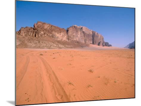 Jeep Tracks Across in Desolate Red Desert of Wadi Rum, Jordan-Cindy Miller Hopkins-Mounted Photographic Print