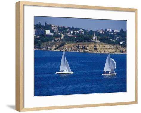 Sailboats in the Harbor Area, Port of Sevastopol, Black Sea, Sevastopol, Ukraine-Cindy Miller Hopkins-Framed Art Print