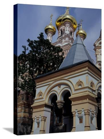 Gold Onion Dome of Alexander Nevsky Cathedral, Russian Orthodox Church, Yalta, Ukraine-Cindy Miller Hopkins-Stretched Canvas Print