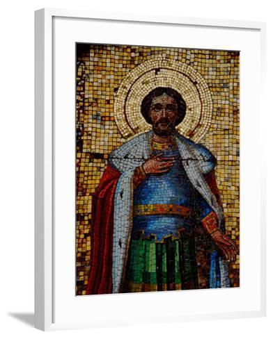 Mosaic Detail with Image of Christ, Alexander Nevsky Cathedral, Yalta, Ukraine-Cindy Miller Hopkins-Framed Art Print