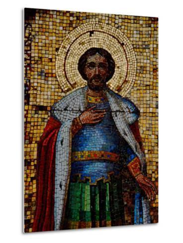 Mosaic Detail with Image of Christ, Alexander Nevsky Cathedral, Yalta, Ukraine-Cindy Miller Hopkins-Metal Print