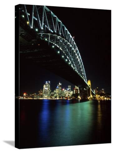 Sydney Harbor Bridge and CBD at Night, Sydney, Australia-David Wall-Stretched Canvas Print