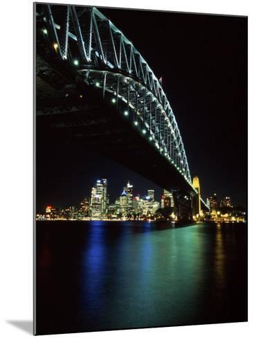 Sydney Harbor Bridge and CBD at Night, Sydney, Australia-David Wall-Mounted Photographic Print