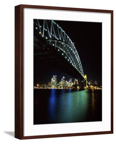 Sydney Harbor Bridge and CBD at Night, Sydney, Australia-David Wall-Framed Art Print