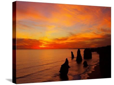 Sunset, Twelve Apostles, Port Campbell National Park, Great Ocean Road, Victoria, Australia-David Wall-Stretched Canvas Print