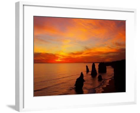 Sunset, Twelve Apostles, Port Campbell National Park, Great Ocean Road, Victoria, Australia-David Wall-Framed Art Print