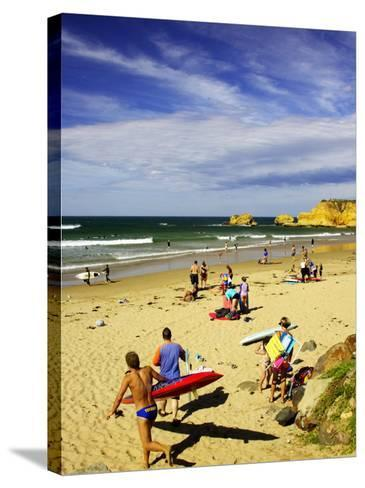 Crowds at the Beach, Torquay, Great Ocean Road, Victoria, Australia-David Wall-Stretched Canvas Print