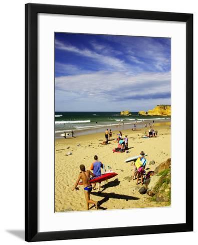 Crowds at the Beach, Torquay, Great Ocean Road, Victoria, Australia-David Wall-Framed Art Print