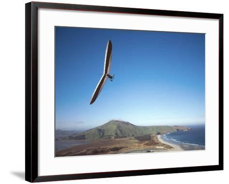 Hang Gliding on Coastline, New Zealand-David Wall-Framed Art Print