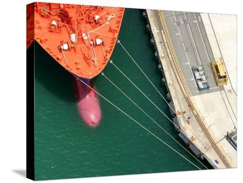 Container Ship, Port Chalmers, Dunedin, South Island, New Zealand-David Wall-Stretched Canvas Print