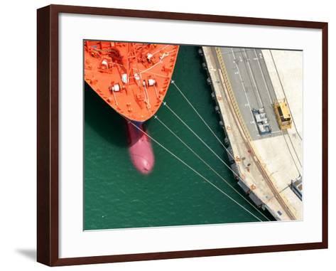 Container Ship, Port Chalmers, Dunedin, South Island, New Zealand-David Wall-Framed Art Print
