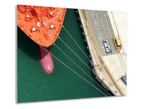Container Ship, Port Chalmers, Dunedin, South Island, New Zealand-David Wall-Metal Print