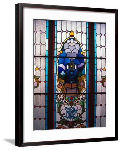 Stained Glass Window, Railway Station, Dunedin, New Zealand-David Wall-Framed Art Print