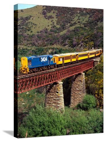 Taieri Gorge Train, near Dunedin, Otago, New Zealand-David Wall-Stretched Canvas Print