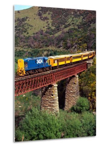 Taieri Gorge Train, near Dunedin, Otago, New Zealand-David Wall-Metal Print
