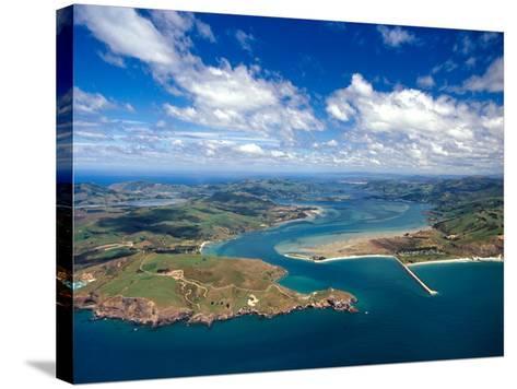 Taiaroa Head, Otago Peninsula, Aramoana and Entrance to Otago Harbor, near Dunedin, New Zealand-David Wall-Stretched Canvas Print