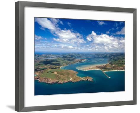 Taiaroa Head, Otago Peninsula, Aramoana and Entrance to Otago Harbor, near Dunedin, New Zealand-David Wall-Framed Art Print
