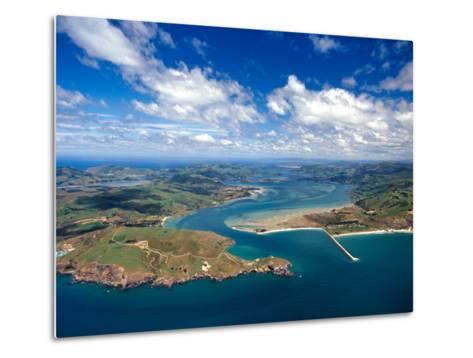 Taiaroa Head, Otago Peninsula, Aramoana and Entrance to Otago Harbor, near Dunedin, New Zealand-David Wall-Metal Print