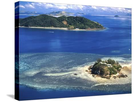 Wading Island and Castaway Island, Fiji-David Wall-Stretched Canvas Print