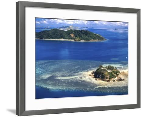 Wading Island and Castaway Island, Fiji-David Wall-Framed Art Print