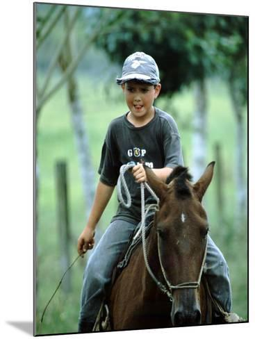 Young Boy Riding Bay Horse and Herding Cattle, Guapiles, Costa Rica-Cindy Miller Hopkins-Mounted Photographic Print