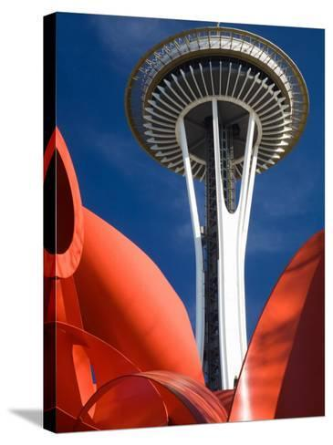 Space Needle with Olympic Iliad Sculpture, Seattle Center, Seattle, Washington, USA-Jamie & Judy Wild-Stretched Canvas Print