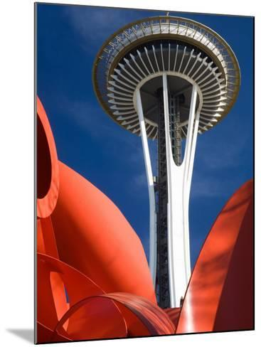 Space Needle with Olympic Iliad Sculpture, Seattle Center, Seattle, Washington, USA-Jamie & Judy Wild-Mounted Photographic Print