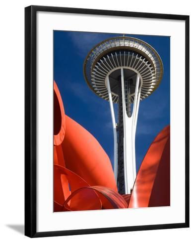 Space Needle with Olympic Iliad Sculpture, Seattle Center, Seattle, Washington, USA-Jamie & Judy Wild-Framed Art Print