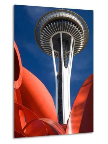 Space Needle with Olympic Iliad Sculpture, Seattle Center, Seattle, Washington, USA-Jamie & Judy Wild-Metal Print